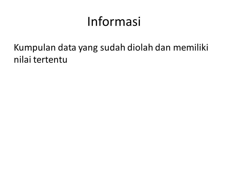 Informasi Kumpulan data yang sudah diolah dan memiliki nilai tertentu