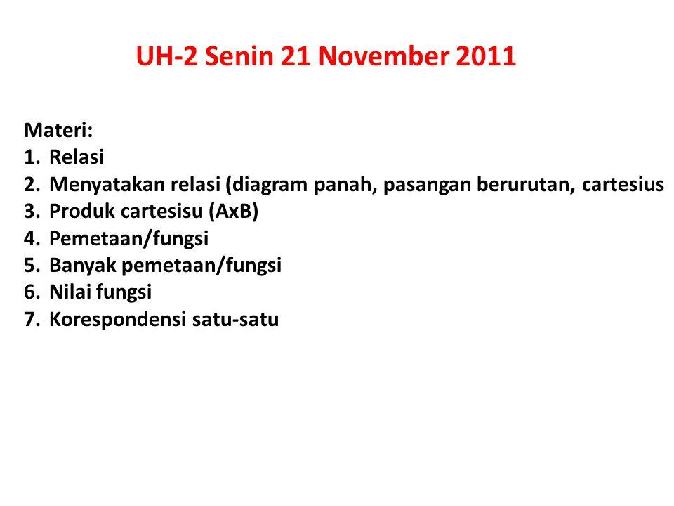 UH-2 Senin 21 November 2011 Materi: Relasi