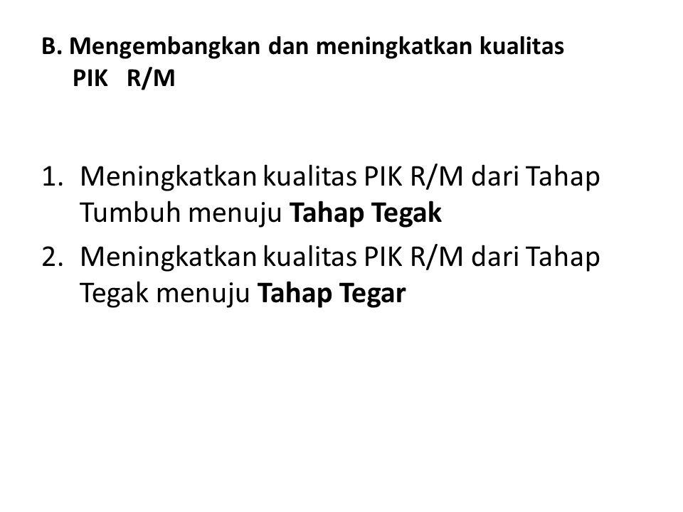 B. Mengembangkan dan meningkatkan kualitas PIK R/M
