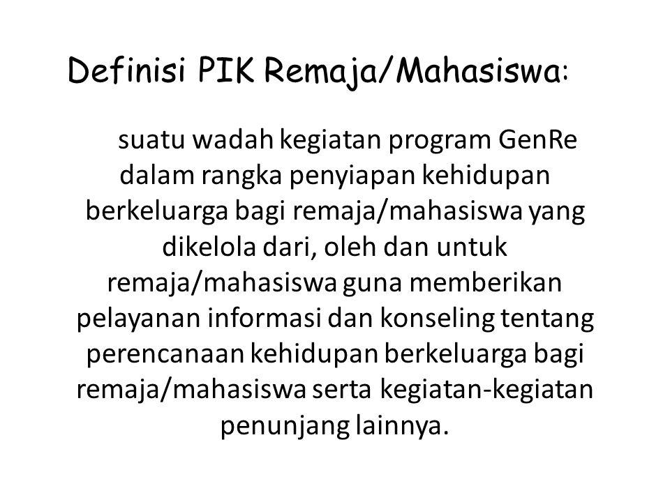Definisi PIK Remaja/Mahasiswa: