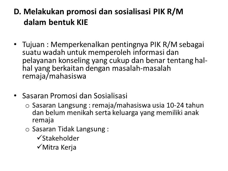 D. Melakukan promosi dan sosialisasi PIK R/M dalam bentuk KIE