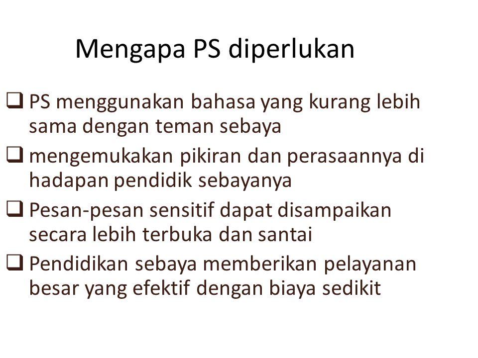 Mengapa PS diperlukan PS menggunakan bahasa yang kurang lebih sama dengan teman sebaya.