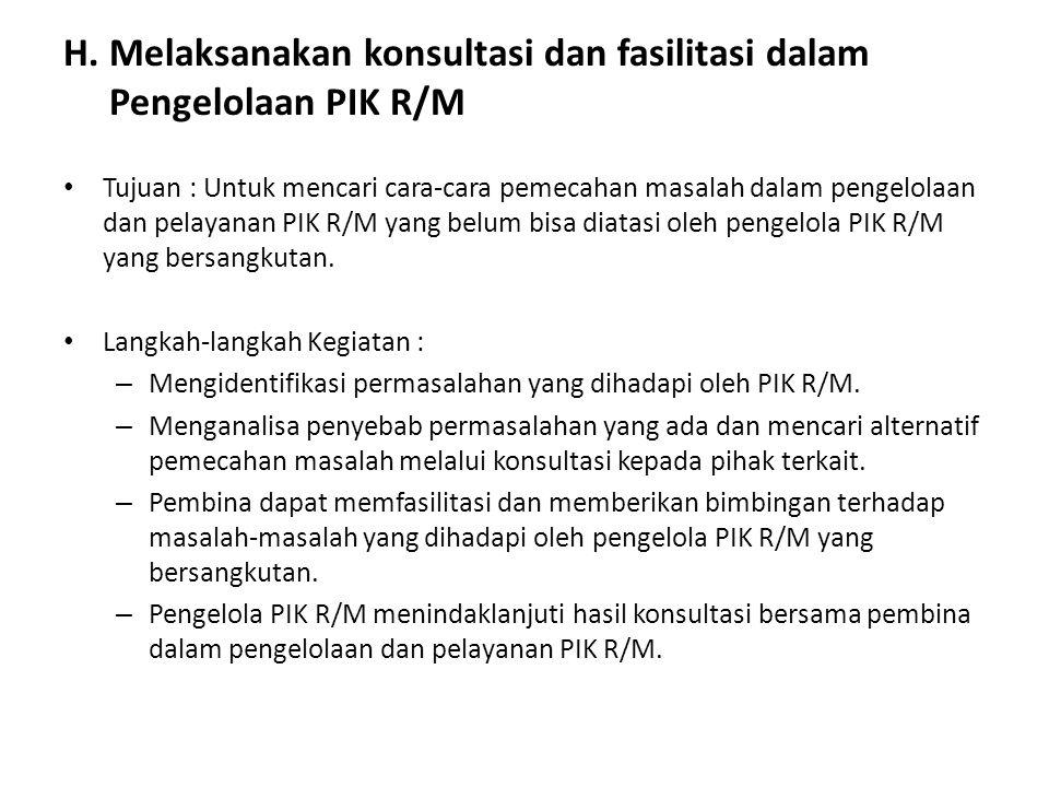 H. Melaksanakan konsultasi dan fasilitasi dalam Pengelolaan PIK R/M