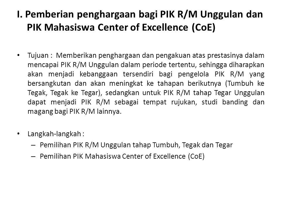 I. Pemberian penghargaan bagi PIK R/M Unggulan dan PIK Mahasiswa Center of Excellence (CoE)