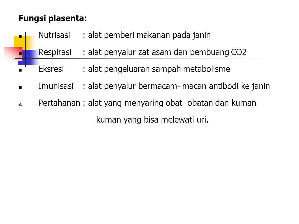Fungsi plasenta: Nutrisasi : alat pemberi makanan pada janin. Respirasi : alat penyalur zat asam dan pembuang CO2.