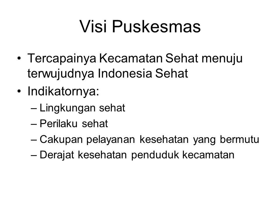 Visi Puskesmas Tercapainya Kecamatan Sehat menuju terwujudnya Indonesia Sehat. Indikatornya: Lingkungan sehat.