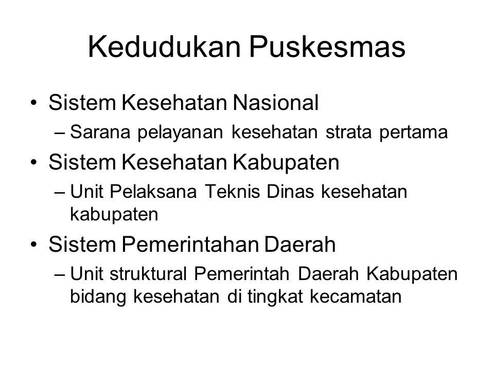 Kedudukan Puskesmas Sistem Kesehatan Nasional