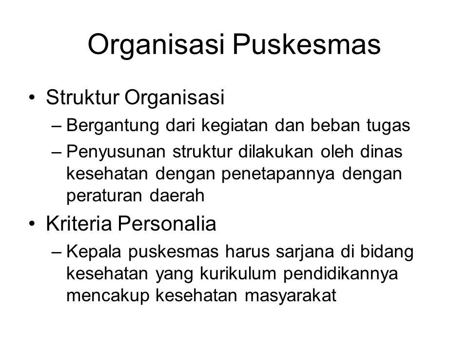 Organisasi Puskesmas Struktur Organisasi Kriteria Personalia