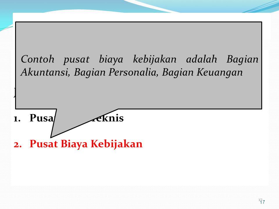 PUSAT BIAYA Contoh pusat biaya kebijakan adalah Bagian Akuntansi, Bagian Personalia, Bagian Keuangan.