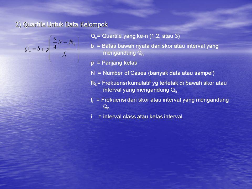 2) Quartile Untuk Data Kelompok