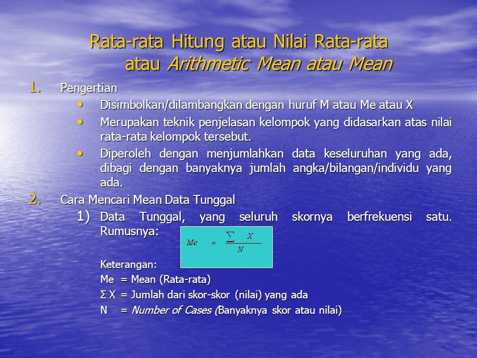 Rata-rata Hitung atau Nilai Rata-rata atau Arithmetic Mean atau Mean