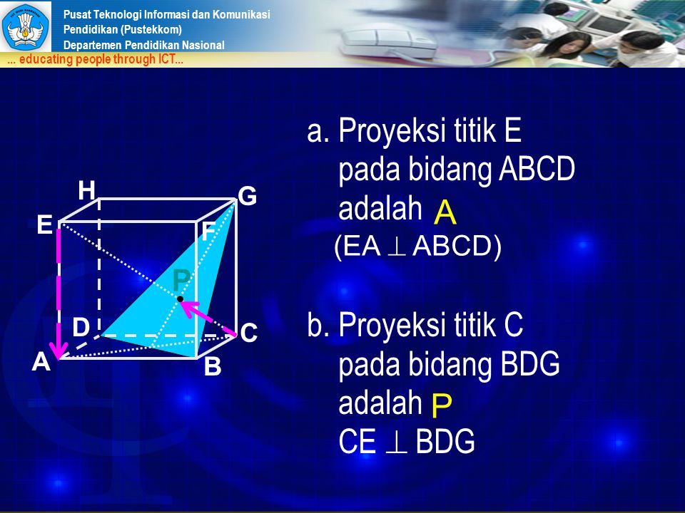 a. Proyeksi titik E pada bidang ABCD adalah b. Proyeksi titik C A