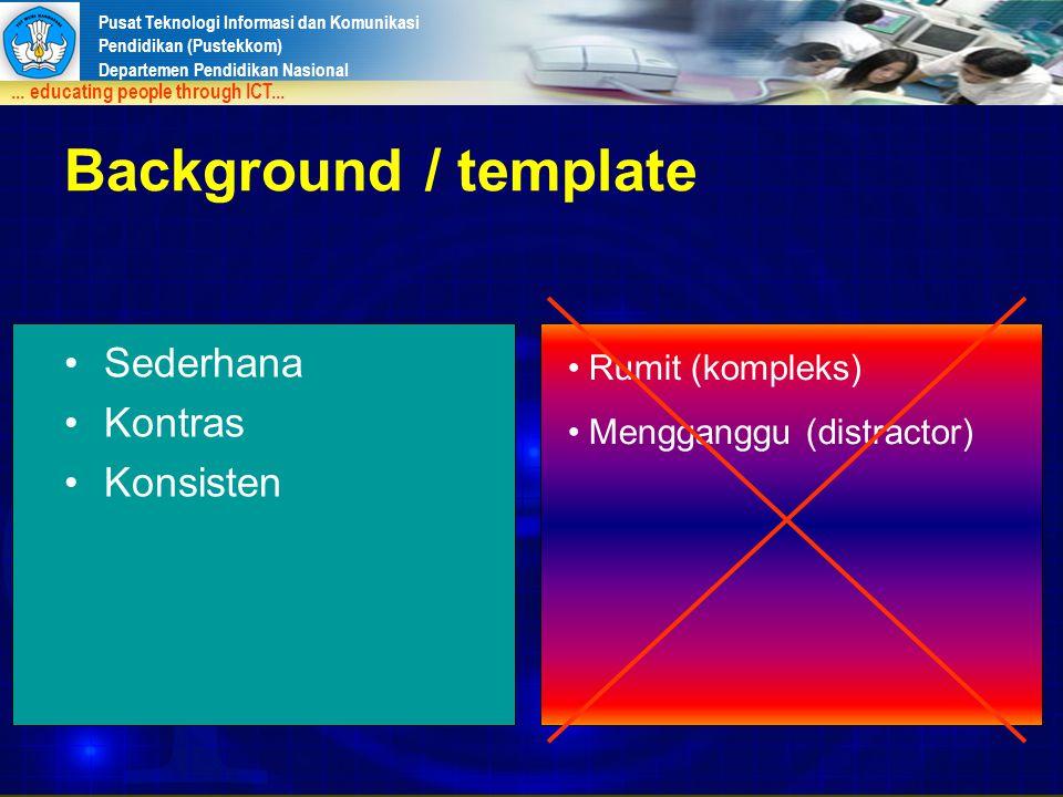 Background / template Sederhana Kontras Konsisten Rumit (kompleks)