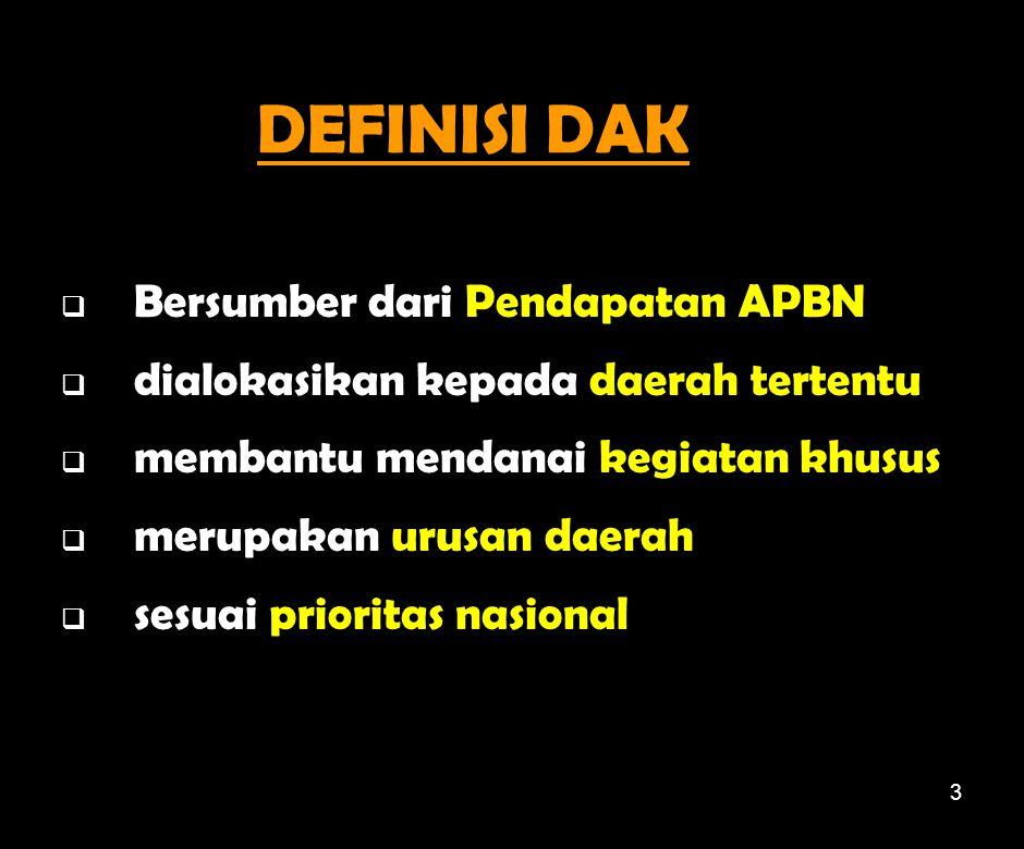 DEFINISI DAK Bersumber dari Pendapatan APBN