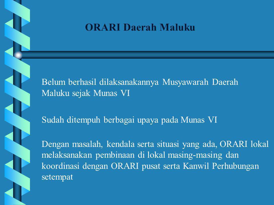 ORARI Daerah Maluku Belum berhasil dilaksanakannya Musyawarah Daerah Maluku sejak Munas VI. Sudah ditempuh berbagai upaya pada Munas VI.