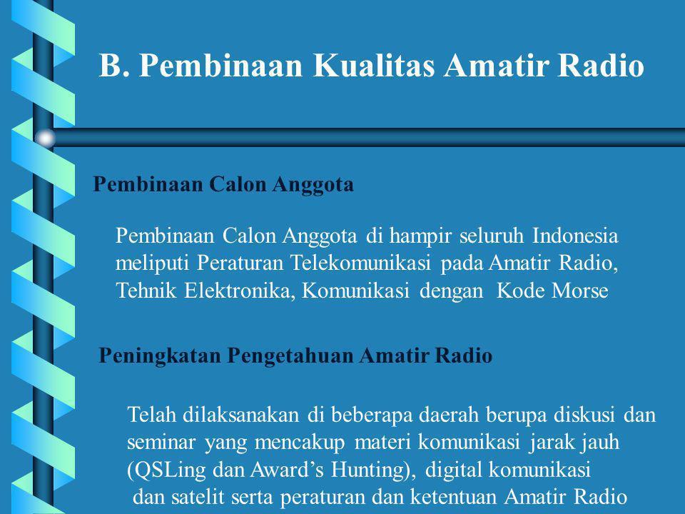 B. Pembinaan Kualitas Amatir Radio