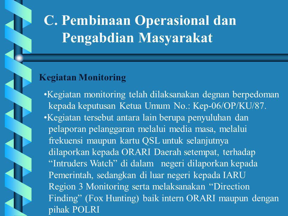 C. Pembinaan Operasional dan Pengabdian Masyarakat