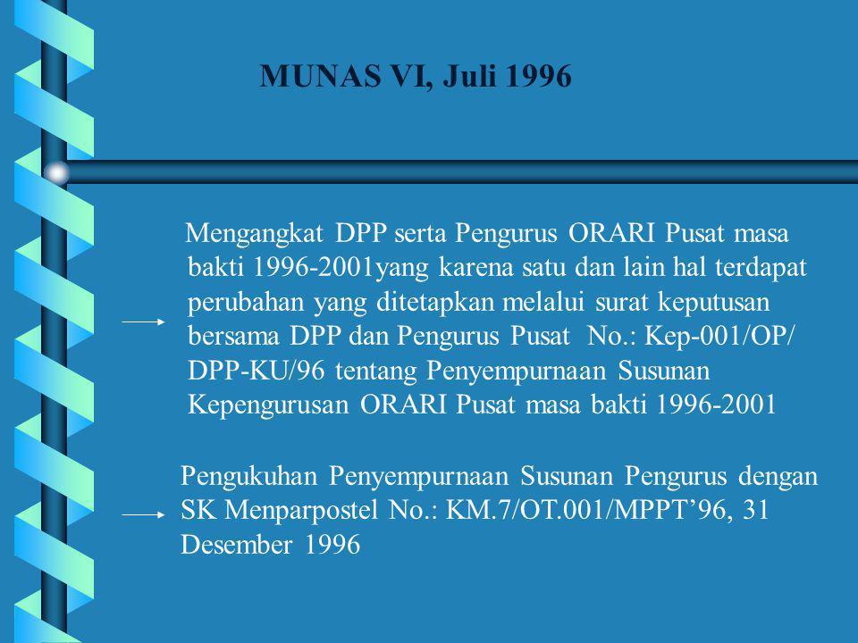 MUNAS VI, Juli 1996 Mengangkat DPP serta Pengurus ORARI Pusat masa. bakti 1996-2001yang karena satu dan lain hal terdapat.