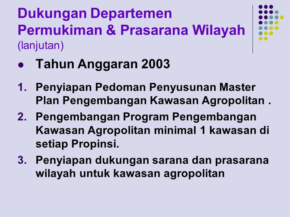 Dukungan Departemen Permukiman & Prasarana Wilayah (lanjutan)