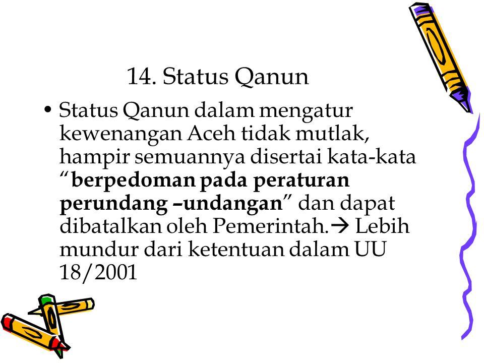 14. Status Qanun