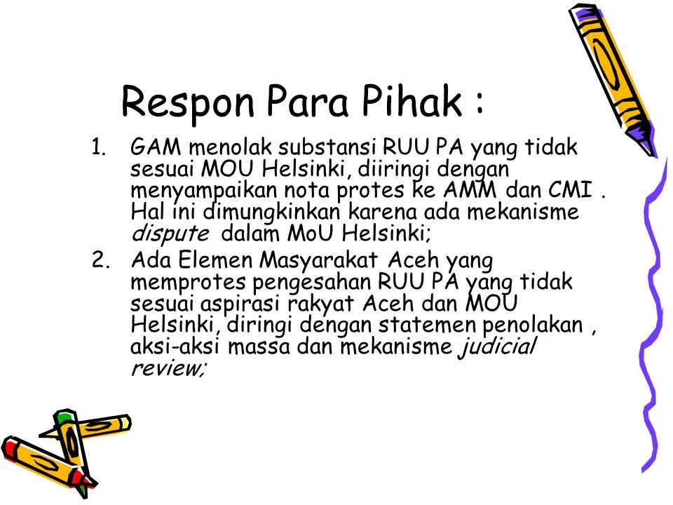 Respon Para Pihak :