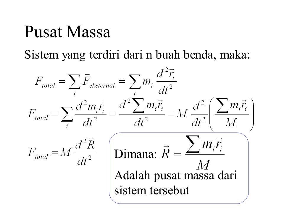 Pusat Massa Sistem yang terdiri dari n buah benda, maka: Dimana:
