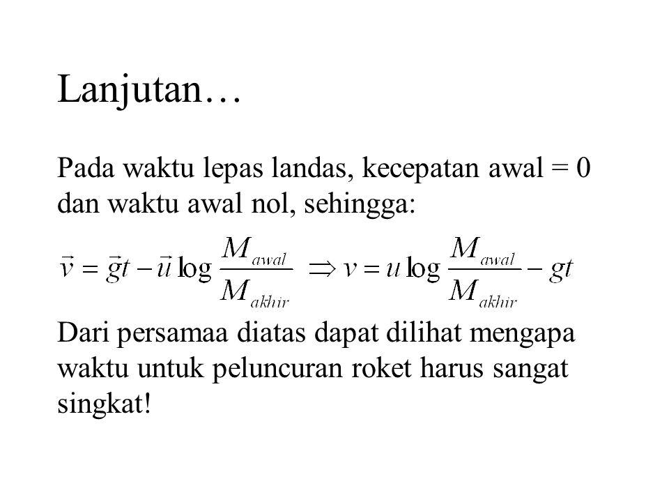 Lanjutan… Pada waktu lepas landas, kecepatan awal = 0 dan waktu awal nol, sehingga: