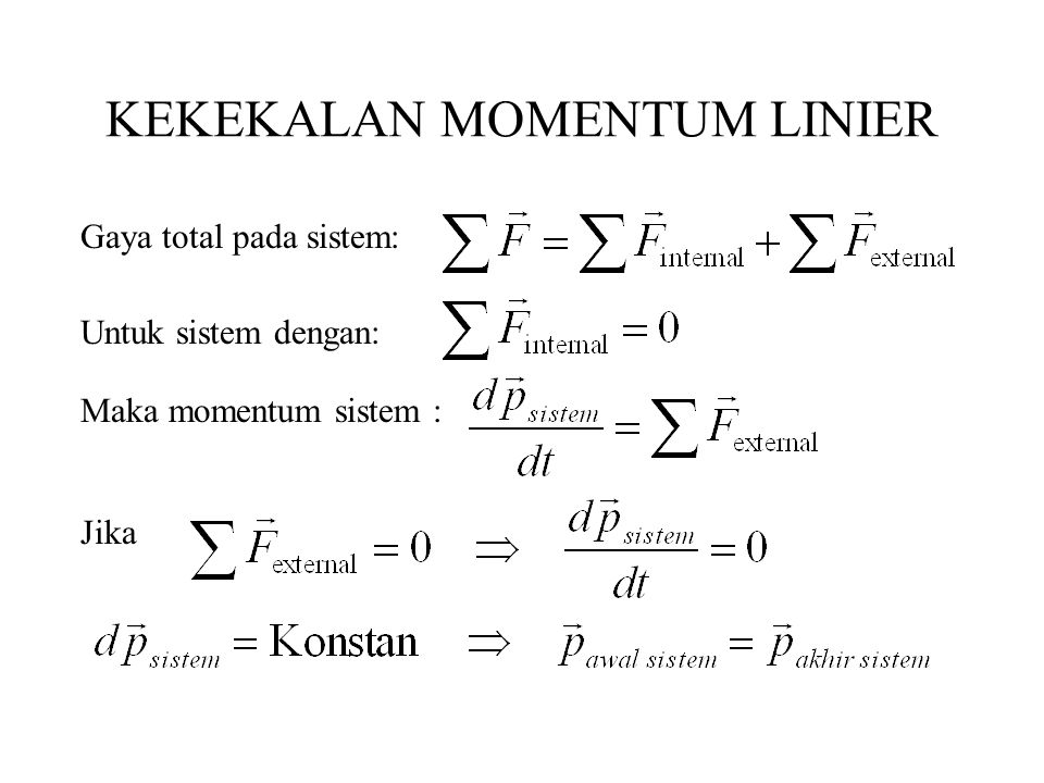 KEKEKALAN MOMENTUM LINIER