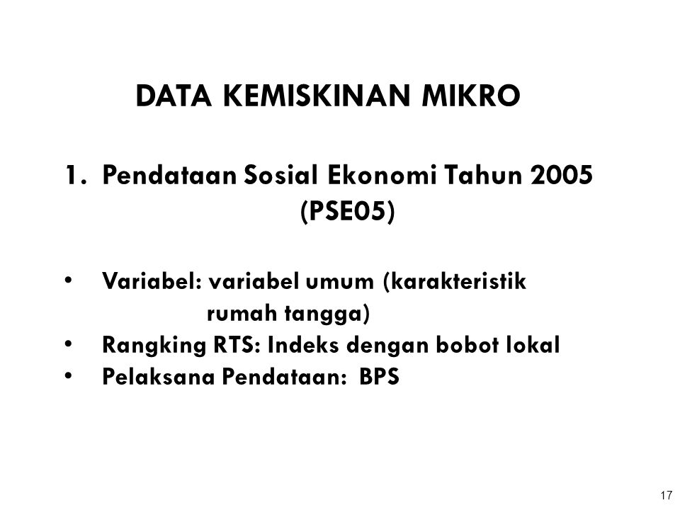 Pendataan Sosial Ekonomi Tahun 2005 (PSE05)