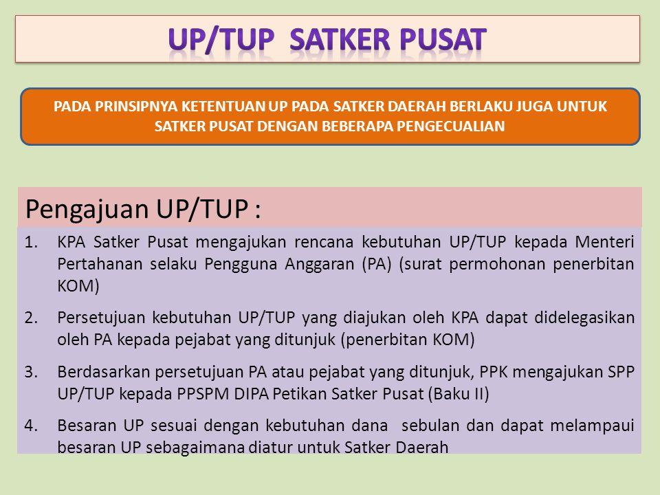 UP/TUP SATKER PUSAT Pengajuan UP/TUP :