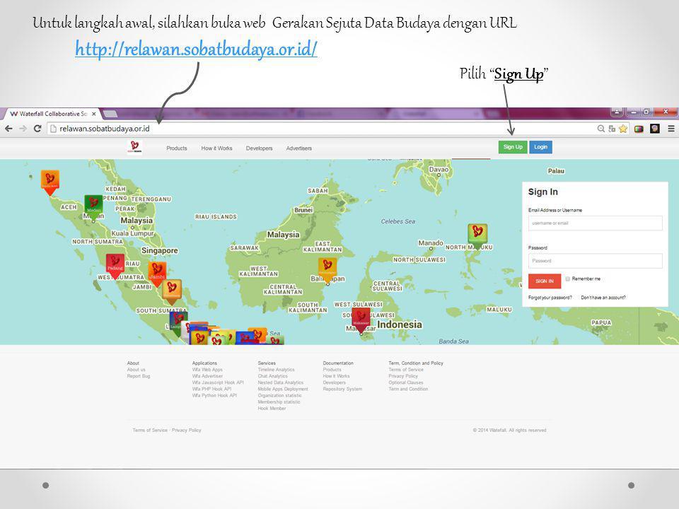 Untuk langkah awal, silahkan buka web Gerakan Sejuta Data Budaya dengan URL