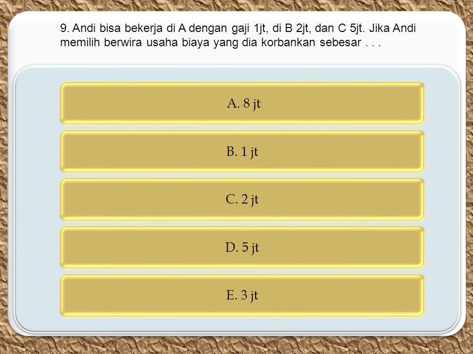 9. Andi bisa bekerja di A dengan gaji 1jt, di B 2jt, dan C 5jt