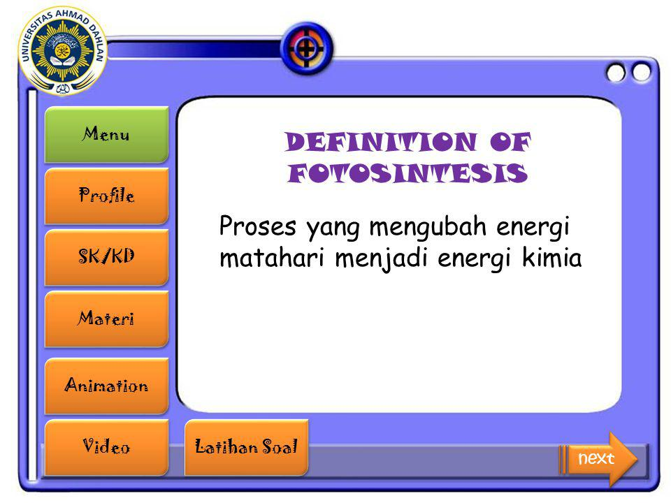DEFINITION OF FOTOSINTESIS