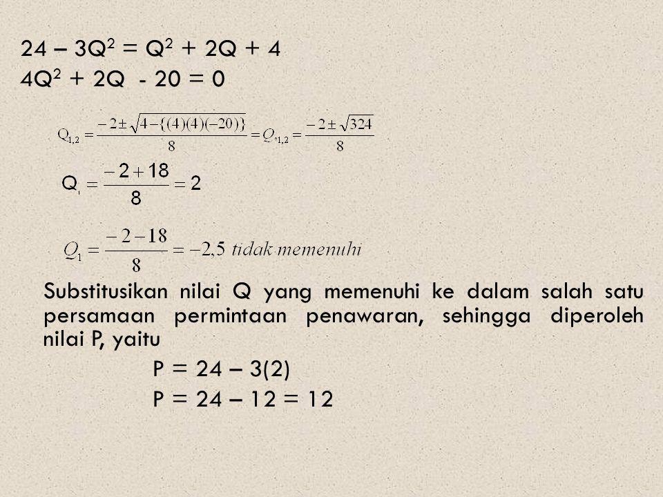 24 – 3Q2 = Q2 + 2Q + 4 4Q2 + 2Q - 20 = 0 Substitusikan nilai Q yang memenuhi ke dalam salah satu persamaan permintaan penawaran, sehingga diperoleh nilai P, yaitu P = 24 – 3(2) P = 24 – 12 = 12