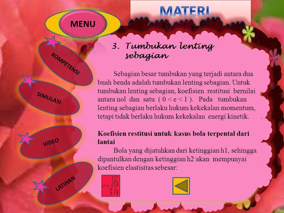 MATERI MENU 3. Tumbukan lenting sebagian