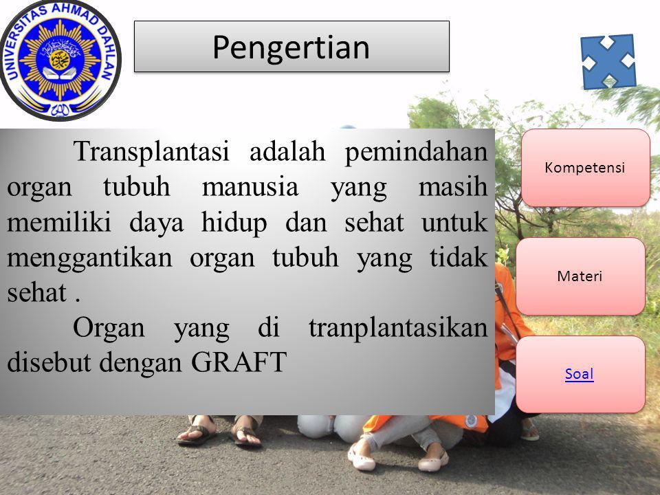 Pengertian Organ yang di tranplantasikan disebut dengan GRAFT