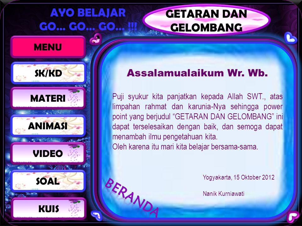BERANDA GETARAN DAN GELOMBANG MENU Assalamualaikum Wr. Wb. SK/KD