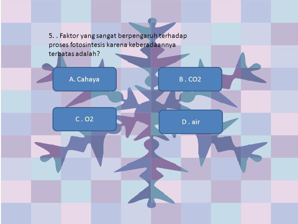 5. . Faktor yang sangat berpengaruh terhadap proses fotosintesis karena keberadaannya terbatas adalah