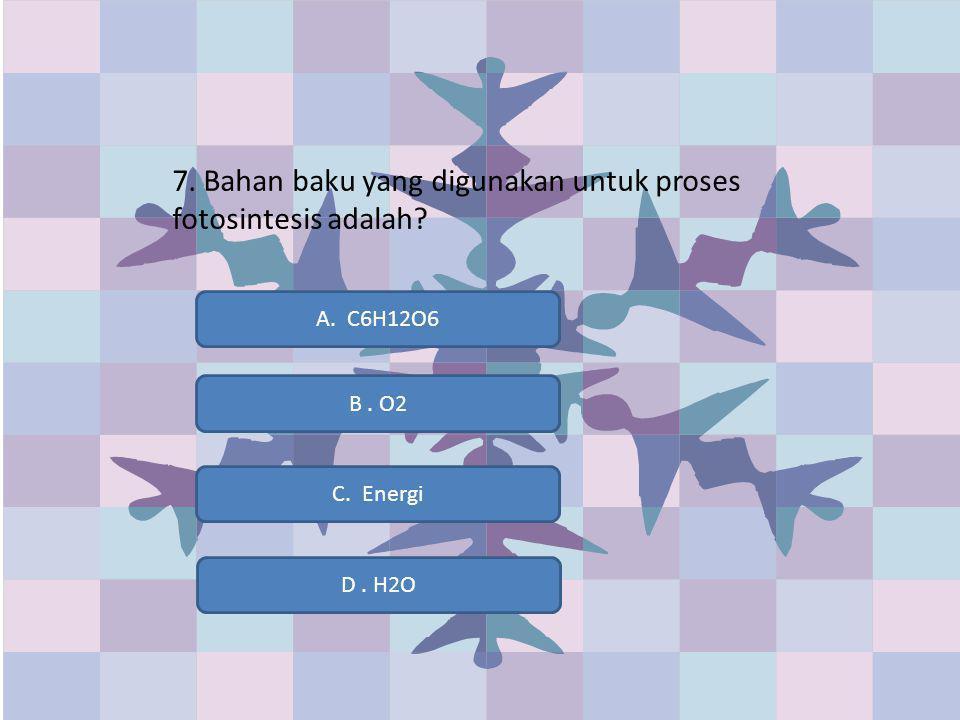 7. Bahan baku yang digunakan untuk proses fotosintesis adalah