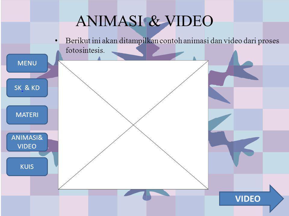 ANIMASI & VIDEO Berikut ini akan ditampilkan contoh animasi dan video dari proses fotosintesis.