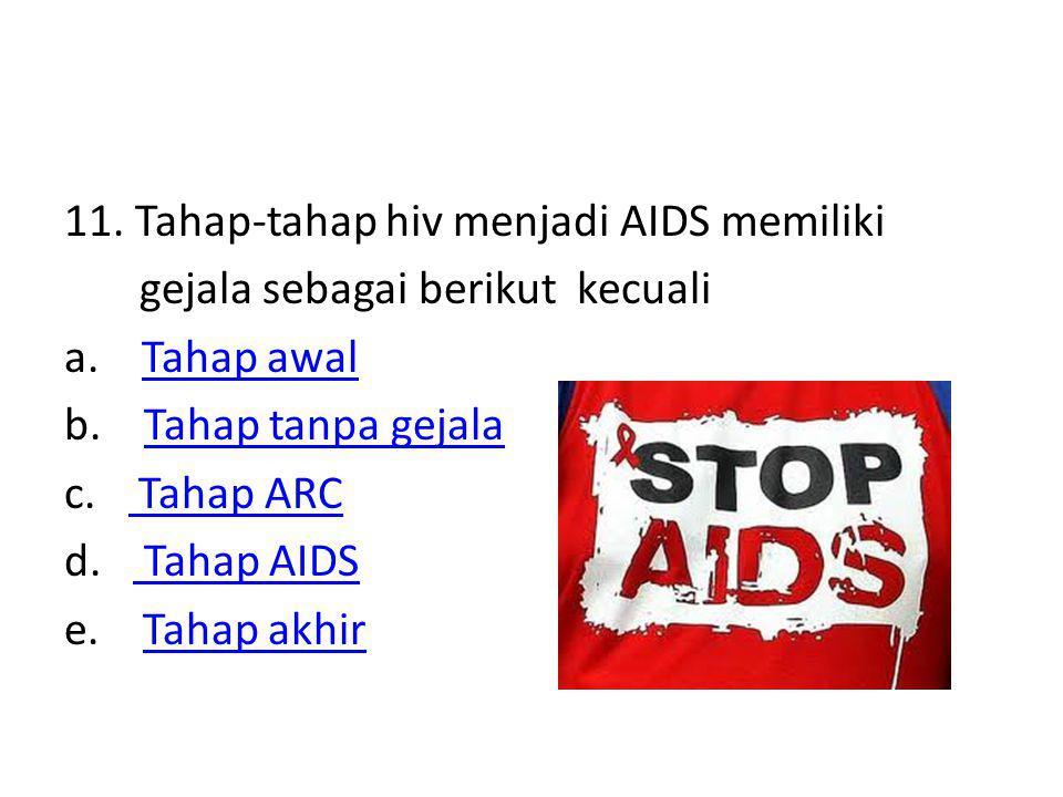 11. Tahap-tahap hiv menjadi AIDS memiliki gejala sebagai berikut kecuali a.