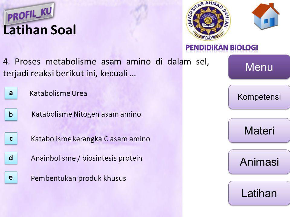 Latihan Soal 4. Proses metabolisme asam amino di dalam sel, terjadi reaksi berikut ini, kecuali … a.