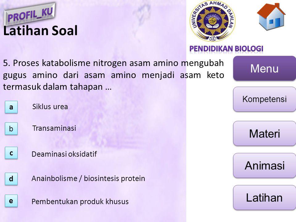 Latihan Soal 5. Proses katabolisme nitrogen asam amino mengubah gugus amino dari asam amino menjadi asam keto termasuk dalam tahapan …