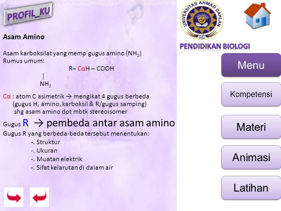 Asam Amino Asam karboksilat yang memp gugus amino (NH2) Rumus umum: