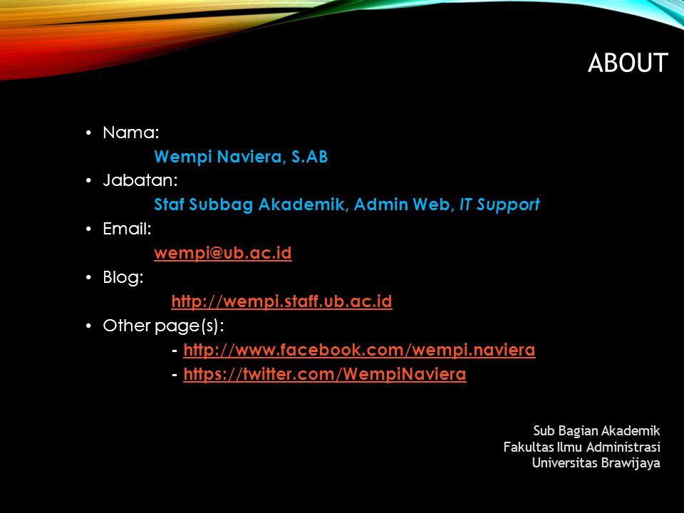 About Nama: Wempi Naviera, S.AB Jabatan: