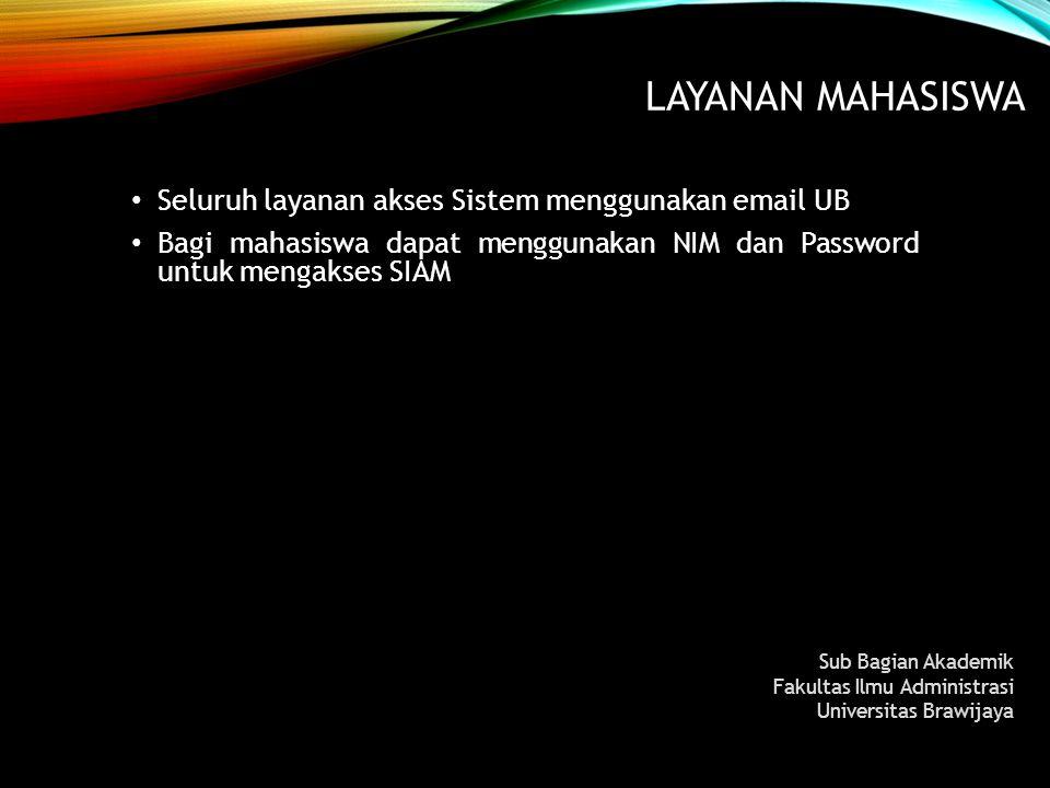Layanan MAHASISWA Seluruh layanan akses Sistem menggunakan email UB