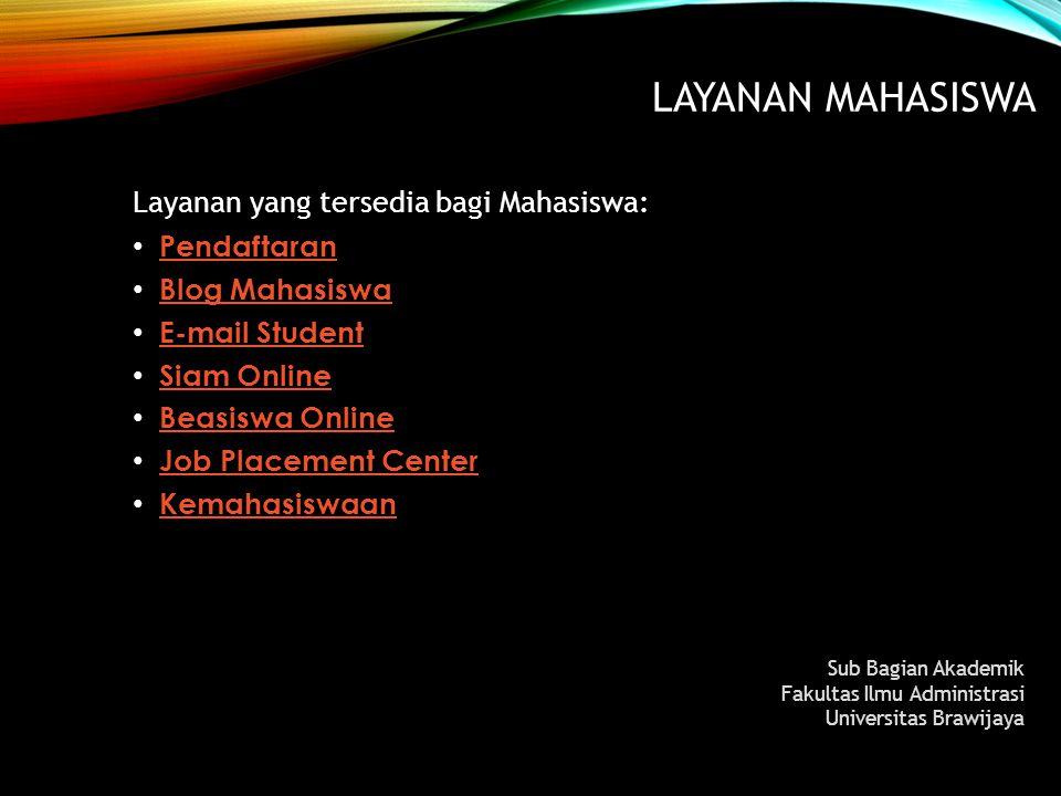 Layanan MAHASISWA Layanan yang tersedia bagi Mahasiswa: Pendaftaran
