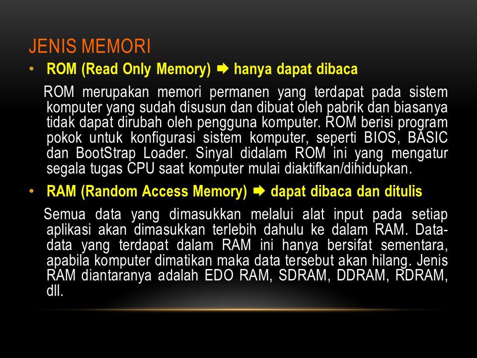 Jenis Memori ROM (Read Only Memory)  hanya dapat dibaca