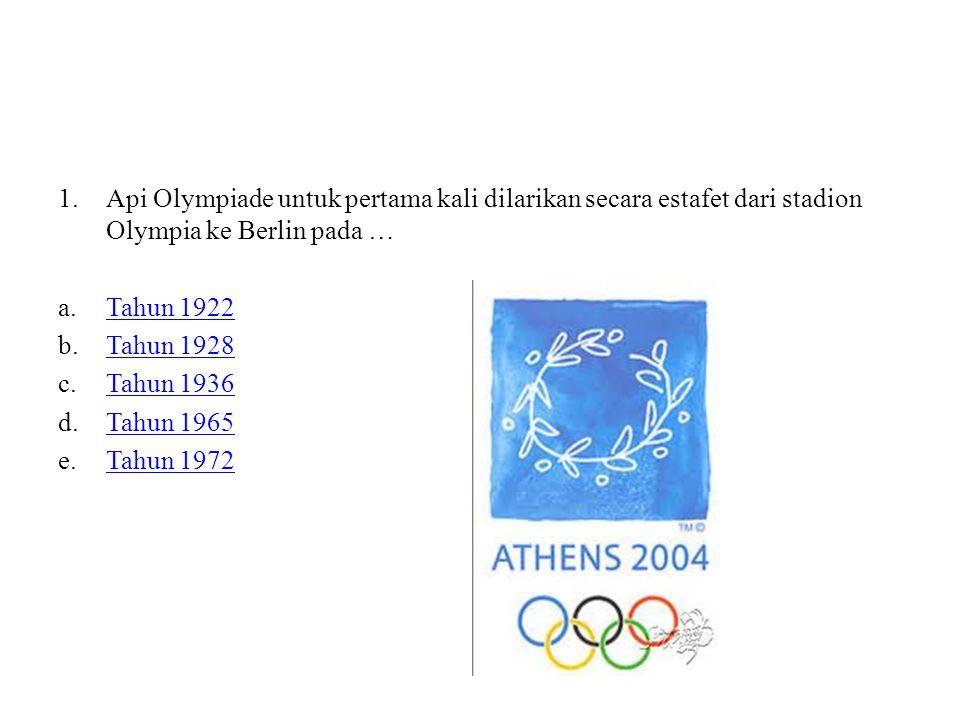 Api Olympiade untuk pertama kali dilarikan secara estafet dari stadion Olympia ke Berlin pada …