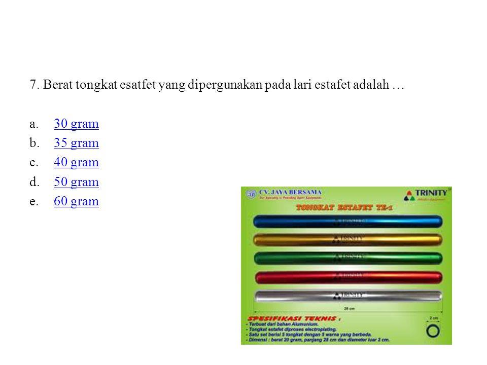 7. Berat tongkat esatfet yang dipergunakan pada lari estafet adalah …